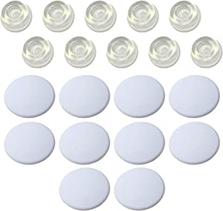 Strongest Wall Door Stopper Set- 10 Pieces of White Silicone Door Knob Wall Shield, Plus 10 Clear Rubber Door Stoper Wall ...