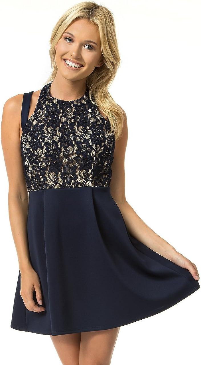 Teeze Me Juniors' Sleeveless Lace Crisscross Dress
