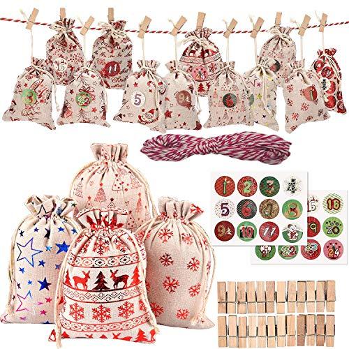 FUNNY HOUSE Calendario de Adviento, 12 Patrones de Yute para Rellenar, 1-24 Adhesivos Bolsa de Regalo Navidad Decoración Navideña para el Hogar (24 PCS)