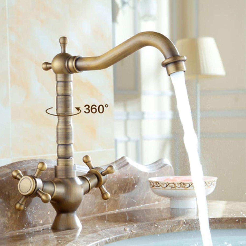 Vintage Messing heies und kaltes Wasser Anti-Antike Wasserhahn Anti-Antike Wasserhahn hei und kalt Kupfer Einlochmontage Badezimmer Becken