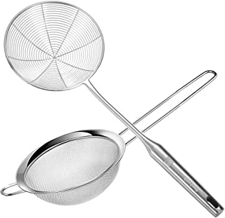 CycEarth Stainless Steel Spider Strainer Skimmer Ladle 6.1 Inch and Fine Mesh Strainer Spoon 6.1 Inch with All 304 Hollow ...