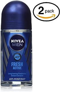 (Pack of 2 Bottles) Nivea FRESH ACTIVE Men's Roll-On Antiperspirant & Deodorant. 48-Hour Protection Against Underarm Wetne...