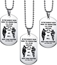 CALIS Men's Necklace We Will Fight Them Together,to My Brother Necklace Military Dog Tag Pendent Christmas Birthday Party Gift,Set of 3