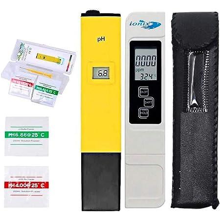 Ionix Water testing Meter Combo, PH & TDS & EC Meter (2 in 1) Combo, 0.05ph High Accuracy Pen Type pH Meter & +/- 2% Readout Accuracy 3-in-1 TDS EC Temperature Meter