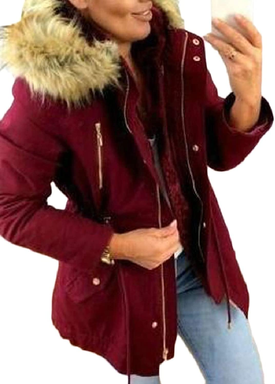CBTLVSN Women Winter Hoodies Coat Zipper Thicken Faux Fur Lined Trench Jacket