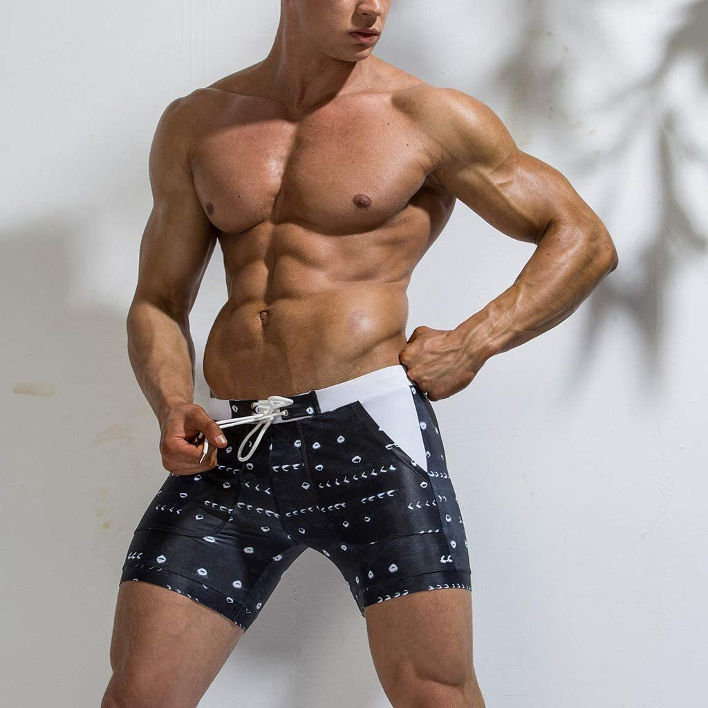 Forthery Mens Swim Trunks Short Square Leg Swimming Boxer Briefs Surfing Swimwear Board Pants with Pockets