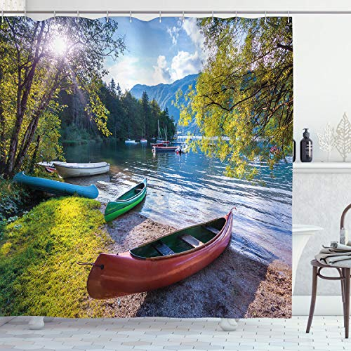 "Ambesonne Landscape Shower Curtain, Bohinj Lake with Boats Canoes Triglav National Park Julian Alps Slovenia Print, Cloth Fabric Bathroom Decor Set with Hooks, 70"" Long, Green Blue"