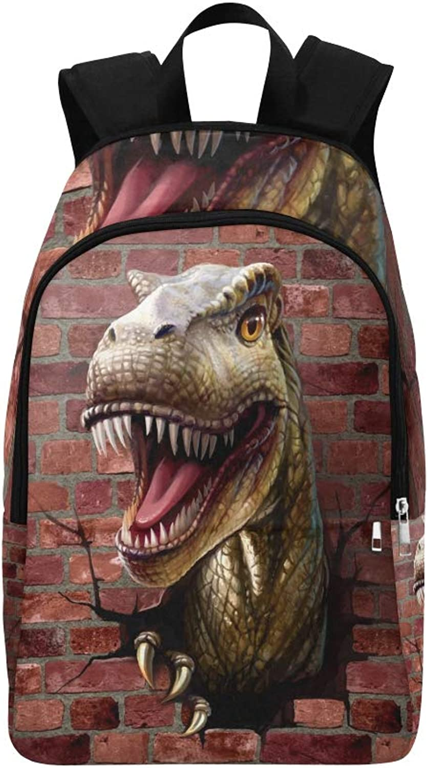 Dinosaur Close Up Through Brick Wall Casual Daypack Travel Bag College School Backpack for Mens and Women