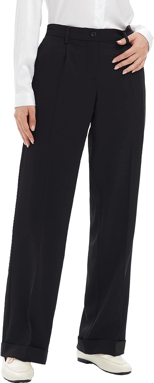 SYJ Women's Straight Leg Side Elastic Waist Work Casual Suit Pants