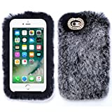 for Apple iPhone 10 X XS Grey Gray Soft Fur Bling Silver Case Cover with Free Pouch -  Bling Cases