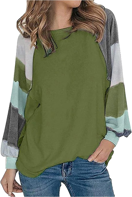aihihe Womens Long Sleeve Shirts Loose Fit Color Block Pullover Sweatshirt Raglan Long Sleeve Tunic Shirts Tops Blouses