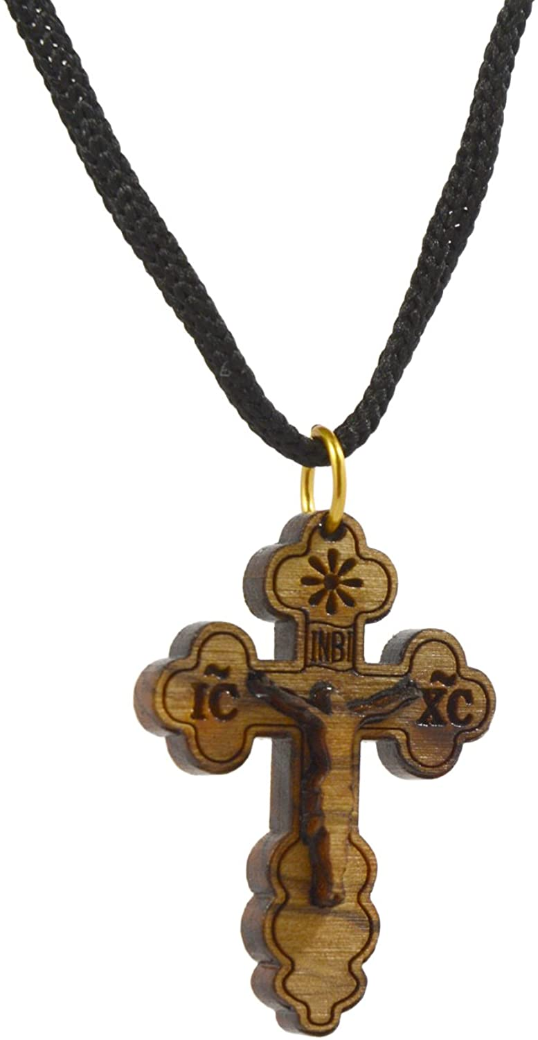 AUTHENTIC Bethlehem Olive Wood Eastern Cross Pendant in Natural Cotton Pouch with Christogram - Cross for Men & Women