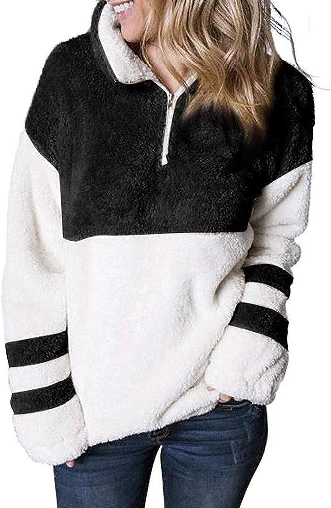 KYLEON Women's Sweatshirt Casual Lapel Sherpa Fluffy Zip Up Fuzzy Fleece Pullover Sweatshirt Outwear Jumper Tops