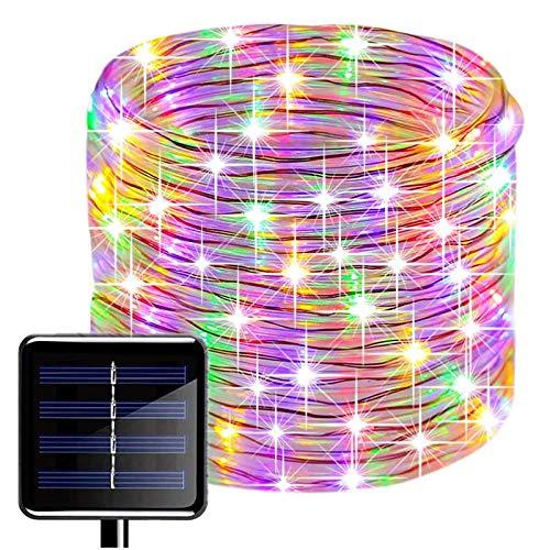 LED Schlauch Lichterkette,KINGCOO Wasserdicht 39 ft/12 m 100 LED Solarlichterkette Röhrenlicht Seil Kupferdraht Weihnachtsbeleuchtung Lichter für Hochzeit Garden Party Außenlichterkette(Bunt)