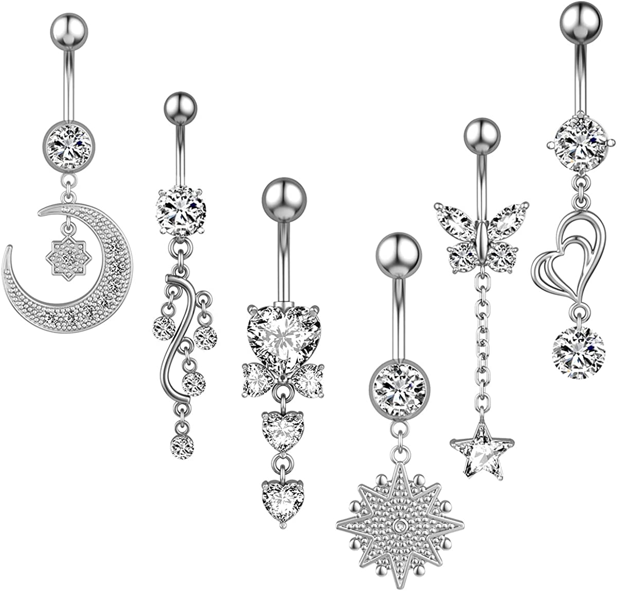 Ezclassy-9Pcs 14G Belly Button Rings Dangle for Women Girls Surgical Steel Navel Rings Barbell Body Piercing Jewelry
