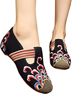 Women's Embroidered Shoes, Elegant Embroidered Ballet Shoes Leisure Flat Cloth Shoes Red (Color : Black, Size : 36)