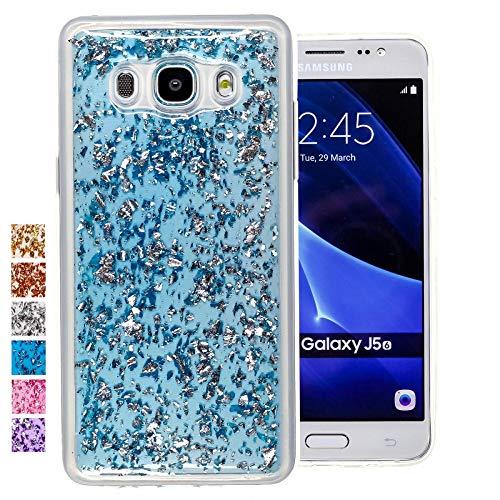 COOVY® Funda para Samsung Galaxy J5 SM-J510 SM-J510F/DS (Model 2016) Carcasa Trasera, Muy Fina, de Silicona TPU, en diseño Brillante | Color Azul