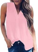 Women Summer Chiffon Short Sleeve Casual Shirt Tops Blouse T-Shirt Tees V Neck Plain T Shirts by Chaofanjiancai