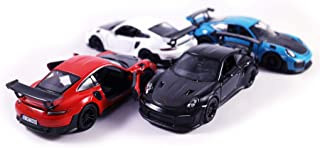 HCK Set of 4 2010 Porsche 911 GT2 RS - Pull Back Toy Sports Cars 1:32 Scale (Black, Blue, Red, White)