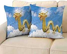 Godves Square Throw Pillow Covers Dragon Cultural Chinese Symbol Super Soft and Luxury, Hidden Zipper Design 16