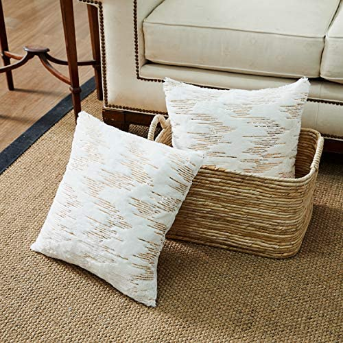 OMMATO Throw Pillows Covers 18 x 18 Set of 2 White Fur with Gold Embroider Sequins Soft Throw product image