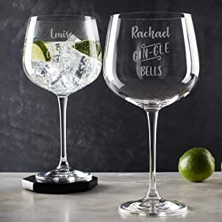 Personalized 'Gin-Gle Bells' Glass for Her - Christmas Gifts for Gin Lovers - Gin Gifts for Women - Festive Engraved 24Oz Goblet