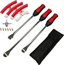 ASOOLL Tire Spoons Motorcycle Tire Changing Tools 1 pcs 14.5 inch and 2 pcs 11.5 inch Bike Tire Iron Levers Repair Kit and 3 Red Rim Protectors and 4-Way Valve Tool with 6 Valve Cores