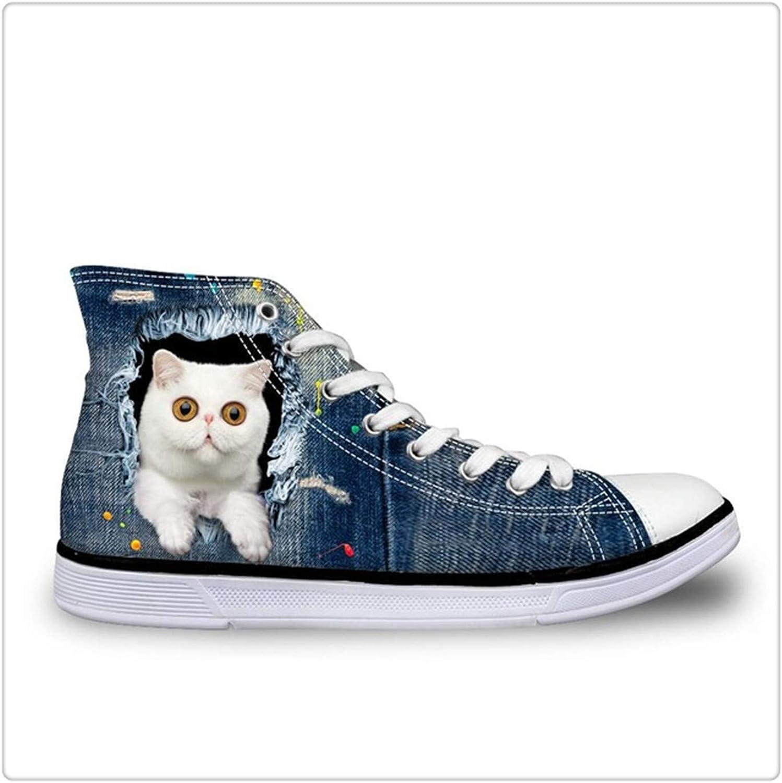 HANGGE& Women's Vulcanize shoes Cute Cat Denim Print Lace-up Flat shoes for Teenager Girls Casual High Top Canvas shoes 2018 CA4911AK 7.5