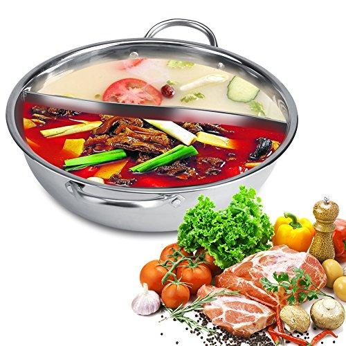 Fdit Stainless Steel Hot Pot, Glass Lid Hot Pot with Divider Soup Cooking Pots 27/29/31cm (32cm)