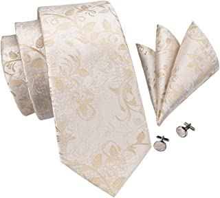 Mens Floral Tie Novelty Necktie Handkerchief Cufflinks set Jacquard Woven Silk Tie Set