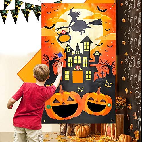 EMAGEREN Halloween Bean Bag Toss Games with 3 Bean Bags Halloween Party Games Pumpkin Bean Bag Party Games Fun Bean Bag Game Sets Halloween Indoor Outdoor Throwing Games for Kids Party Favor