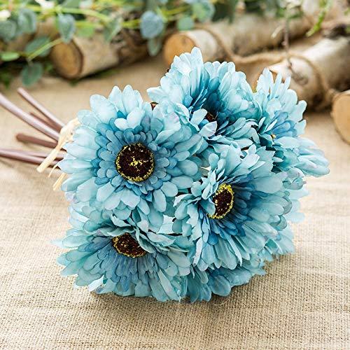 Kunstplanten 6 Hoofd stroomden handen en voeten gebonden Multi-layered Sun Flower Bouquet Gerbera Kunstbloem Chrysanthemum Home Decoration Wedding Prop Kunstbloem (Color : Blue)