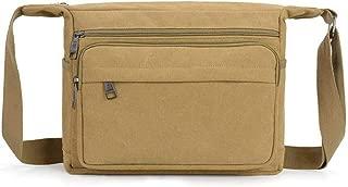 Sports Outdoor Messenger Shoulder Bag, Men Canvas Crossbody Sling Bag Riding Bag Outdoor Travel Hiking Size: 31 * 11 * 24CM (Color : Khaki)