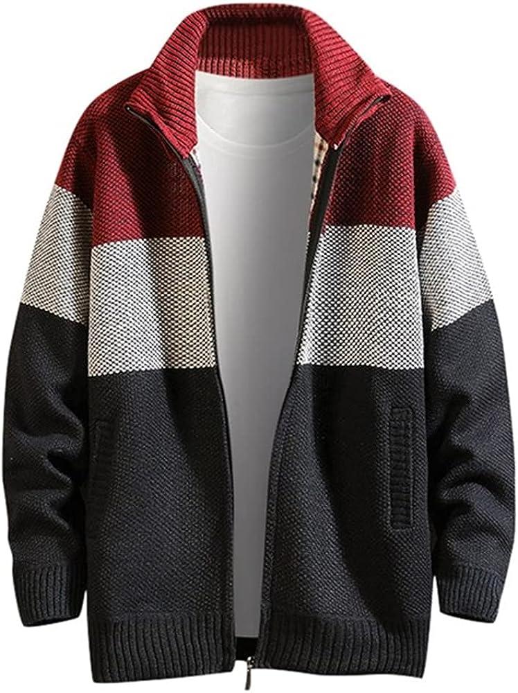 NP Autumn Winter Men;s Color Turn-Down Collar Coat Outdoor Casual Sweater