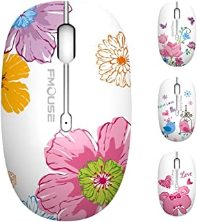 TENMOS M101 Wireless Mouse Cute Silent Computer Mice with USB Receiver, 2.4G Optical Wireless Travel Mouse 1600 DPI Compatible with Laptop, Notebook, PC, Computer (Flower)
