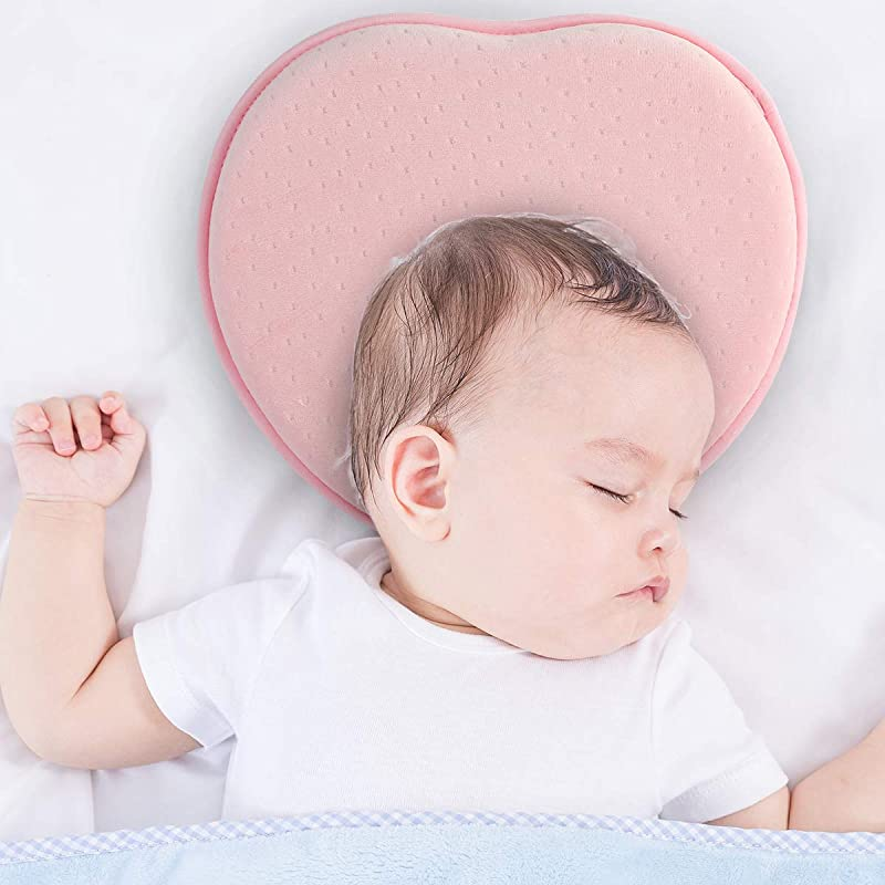 Baby Pillow For Newborn Heart Shaped Flat Head 3D Soft Memory Foam Infant Baby Head Shaping Pillow With Neck Support For 0 12 Months Girls Boys Pink