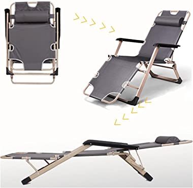 JSQWD Recliner Folding Chair Can Bear 75 Kg Lunch Break Siesta Bed Chair Office Back Chair Lazy Chair Beach Home Accompany Po