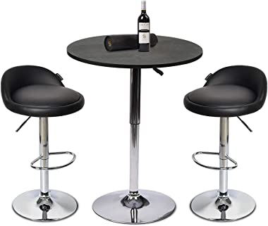 YOURLITE Pub Table and Chair Sets 3 Pieces with Black Pub Chairs Set of 2 Height Adjustable Barstools and Black Wood Round Pub Table