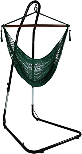new arrival Sunnydaze Hanging Rope Hammock Chair lowest Swing online with Stand - Caribbean Style Extra Large Hanging Chair with Adjustable Stand - 300 Pound Capacity - Green online