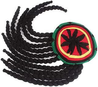 Qhome Rasta Hat Reggae Cap Jamaican Beanie Hippie Dreadlocks Tam Knitted Stretchy Wig