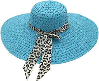 CHUN Cappello da Sole in Paglia da Donna Cappello Estivo a Tesa Larga con Fiocco Leopardato Cappello da Donna con Protezio...