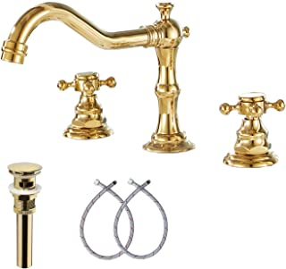 GGStudy 8-16 inch Two Handles 3 Holes Widespread Bathroom Sink Faucet Gold Basin Mixer Tap Faucet Matching Metal Pop Up Drain With Overflow