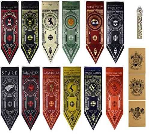 GTHRONEBAR [45X150CM 12PCS Bandiera Flag Banner da Giardino, Decorazioni per Feste per for Game Gioco Bar, Throne Trono troni Eventi Sportivi scolastici, Feste internazionali