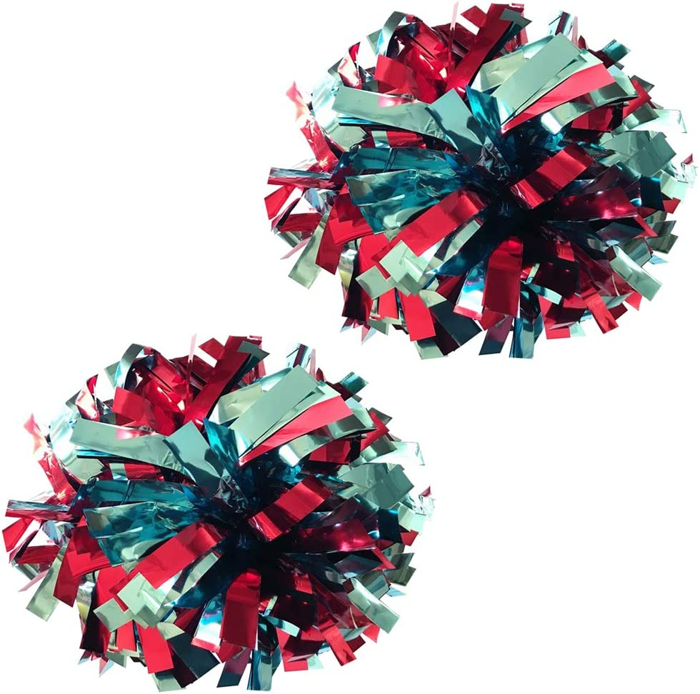 6 inch Metallic Cheerleader Cheerleading Pom Poms 1 Pair 2 Pieces Pack with The re-sealable Bag