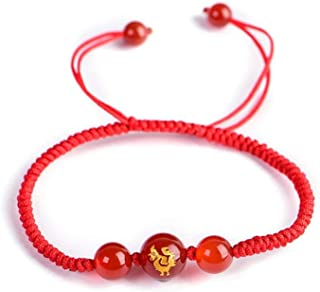Chinese Zodiac Animal Red Rope Lucky Bracelets Agates Stone Beads Couple's Charm Bracelet Hand Weaved Women Jewelry