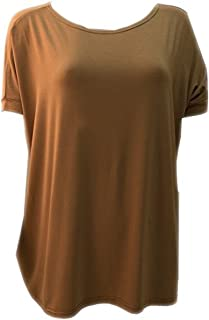 Women's Famous Short Sleeve Bamboo Top Loose Fit,Large,Mocha