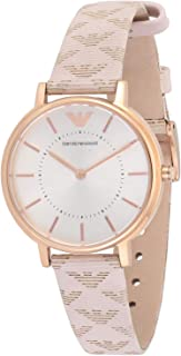 Emporio armani Women's White Dial Leather Band Watch - aR11008