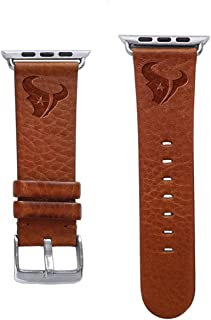 Game Time Houston Texans Tan Leather Band Compatible with Apple Watch - 42mm/44mm Long