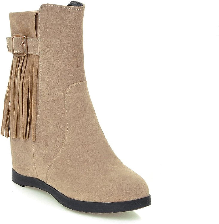 Lucksender Womens Zip Round Toe Increased with Wedge Heel Tassel Boots