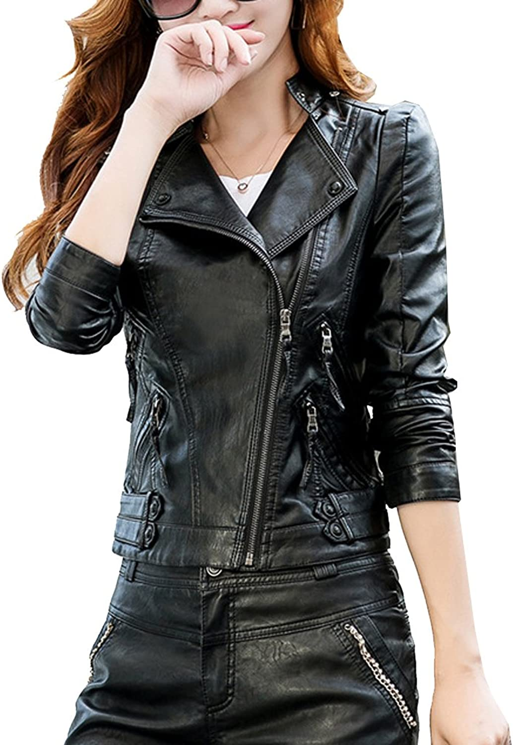 Allonly Women's PU Leather Slim Fit Long Diagonal Zip Up Sleeve Jacket Coat